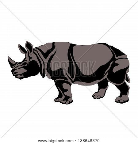 adult black gray  rhino silhouette vector illustration isolated