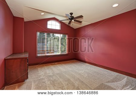 Red Empty Room With Vaulted Ceiling.