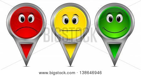 colorful Voting Buttons on White background- 3D illustration