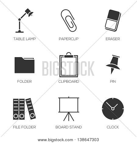 Office tools icons. Business office equipments symbol