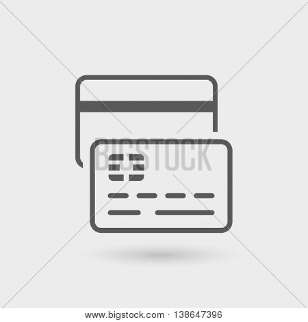 credit card thin line icon isolated with shadow