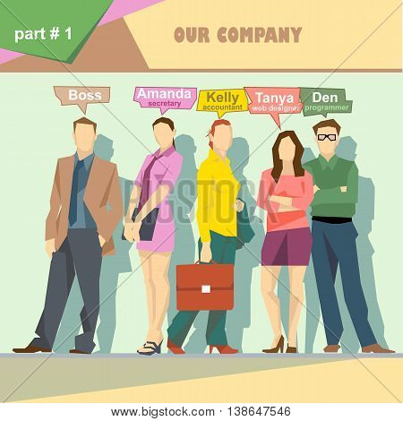 Business company roles situation infographics with boss secretary accountant web designer and programmer. Digital vector image