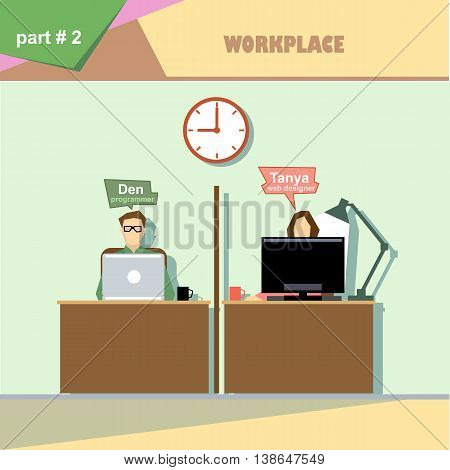 Business company roles situation infographics with web designer and programmer at their workplace. Digital vector image