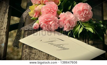 Pink Floral bouquet background and feeling tag/card
