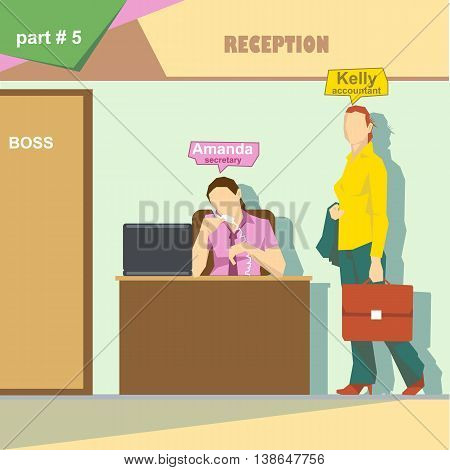 Business company roles situation infographics with accountant and secretary talking on the phone at work. Digital vector image