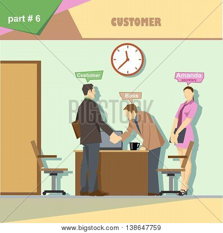 Business company roles situation infographics with boss secretary and customer shaking hands at work. Digital vector image