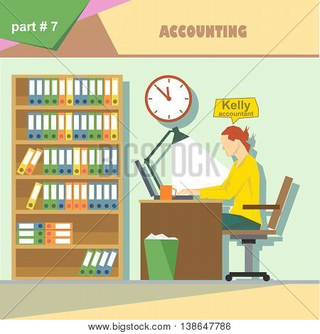 Business company roles situation infographics with accountant at work. Digital vector image