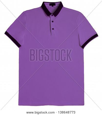 Polo shirt pink isolated on white background