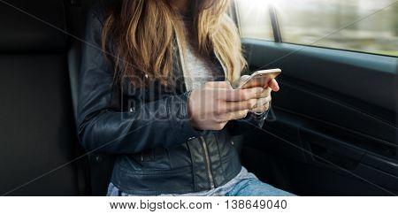Girl Sitting In A Car