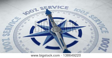 100% Service Compass. 3d Rendering.