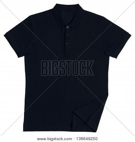 Polo shirt black isolated on white background