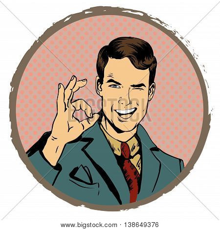 Man shows OK hand sign. Vector illustration in retro comic pop art style. Design elements and stickers.