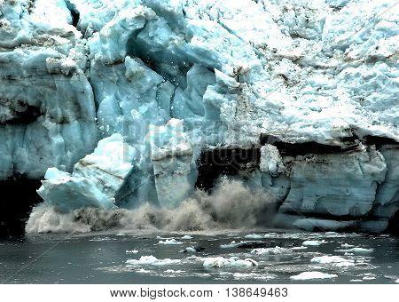A glacier calving in glacier bay national park Alaska