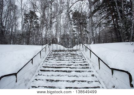 The stairs are covered in snow photo for you