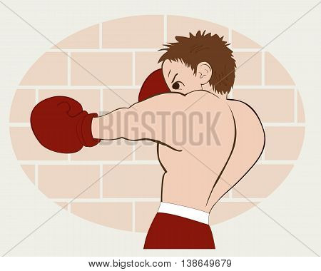 Young boxer in  red shorts trained against a brick wall. Colored, isolated, vector illustration for emblem, label, badge, flier, leaflet or etc. Horizontal location.
