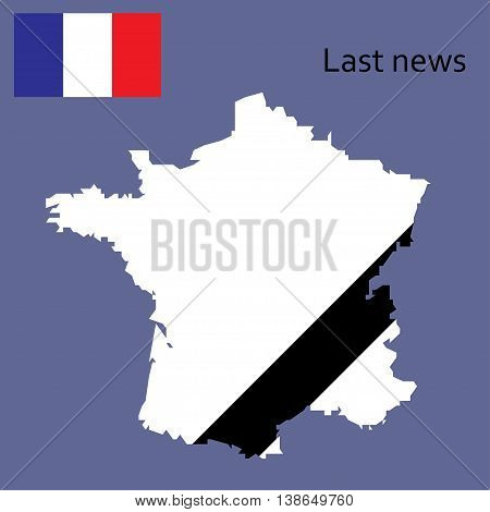 breaking news design France recent events. Last news in country. Map and flag of France. Can be used as banner of last news for web sites tv etc.