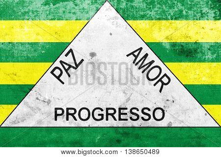 Flag Of Ferros, Minas Gerais State, Brazil, With A Vintage And O