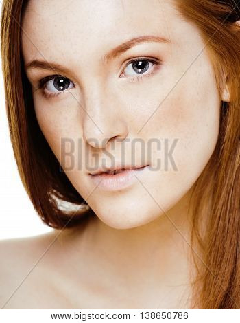 red hair woman with drops on her face, real ginger close up