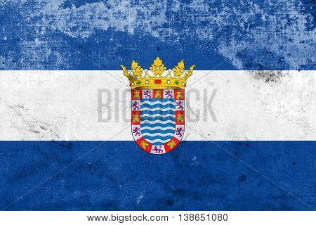 Flag Of Jerez, Andalusia, Spain, With A Vintage And Old Look