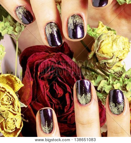 close up picture of manicure nails with dry flower red rose, dehydrated by winter cold