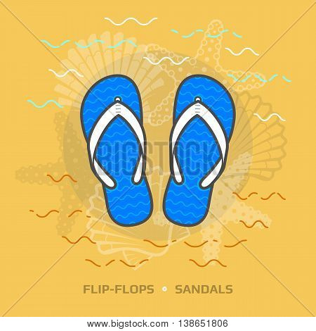 Flat illustration of flip flops against yellow background. Flat design of beach sandals, top view.
