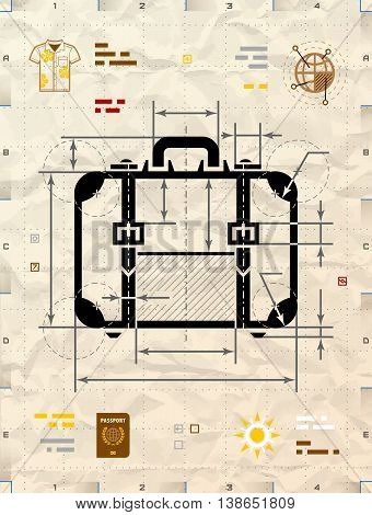 Suitcase silhouette as technical blueprint drawing. Drafting of travel bag on crumpled kraft paper.
