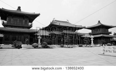 Wooden buildings and the celestial kings hall at baoshan buddhist temple located in the baoshan district of shanghai china.