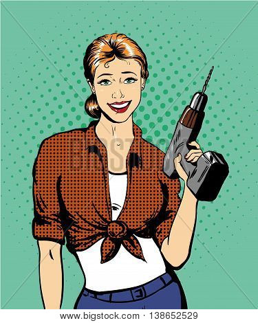 Woman with drill vector illustration in retro comic pop art style. Girl with hardware power tools.