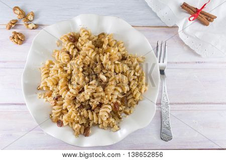 Sweet Pasta With Honey, Nuts And Raisins