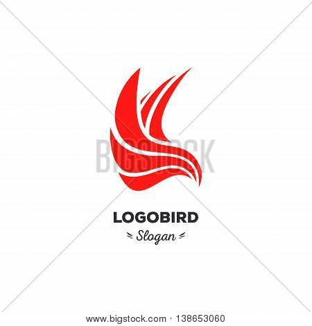 Isolated, cartoon, geek, strict eagle flying, triangular vector shape, minimalism, flat, stylish, geometric stylized logotype, red color logo template, bird wings feathers eagle element logo