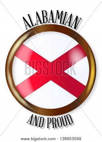 Alabama state flag button with a gold metal circular border over a white background with the text Alabamian and Proud