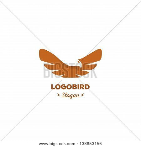 Fun, beauty, isolated, cartoon, geek eagle flies spread wings.Oval vector shape. Minimal, flat, round stylized logotype. Brown color logo template.Bird, eaglehawkvulture feathers wings element logo