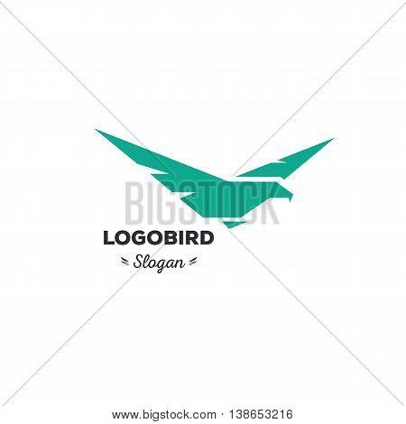 Isolated, cartoon, geek, strict eagle flying, triangular vector shape, minimalism, flat, stylish, geometric stylized logotype, turquoise color logo template, bird wings feathers eagle element logo