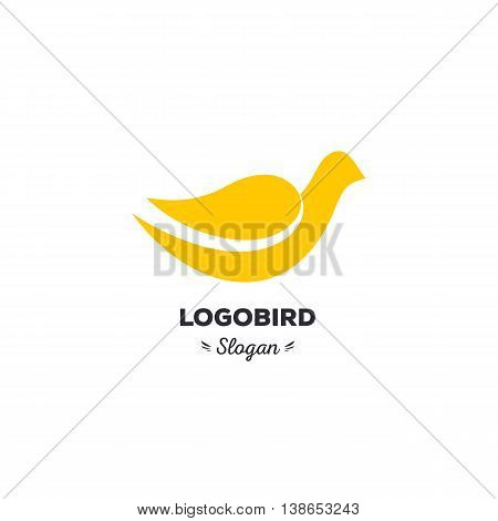 Fun, beauty, isolated, cartoon, geek dove, vector shape, stylish, minimalistic, flat, elegant, silhouette stylized logotype, yellow color logo template Dove bird wings tail duck wings tail duck