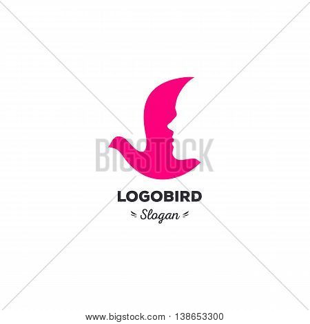 Fun, beauty, isolated, cartoon, geek dove, vector shape, stylish, minimalistic, flat, elegant, silhouette stylized logotype, pink color logo template Dove bird wings face tail duck wings tail