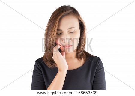 Woman got toothache isolated on white background