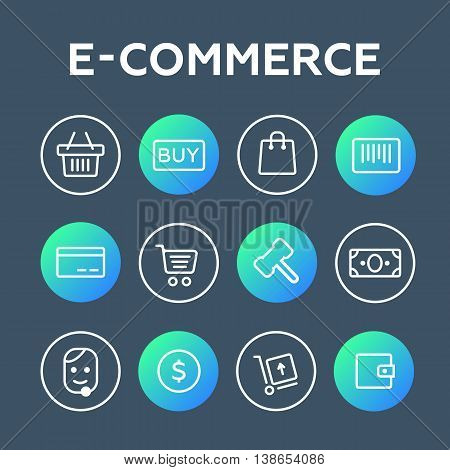 lines icons set vector e-commerce eps 10