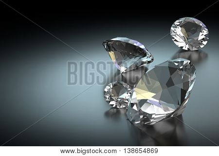 3D rendering group of diamonds laying on black background.