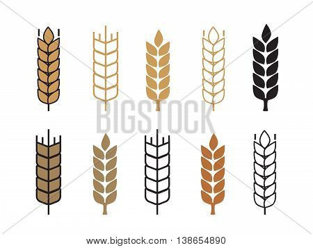 Wheat ear icon set vector illustration eps10