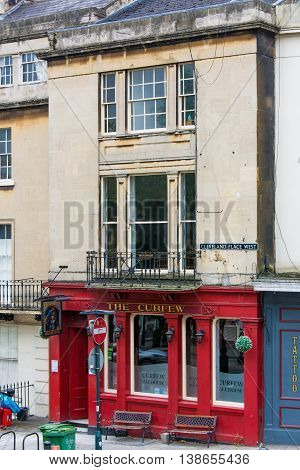 BATH SOMERSET UK - JULY 15 2016 The Curfew Ale House wide. Pub on Cleveland Place in the UNESCO World Heritage City of Bath in Somerset England