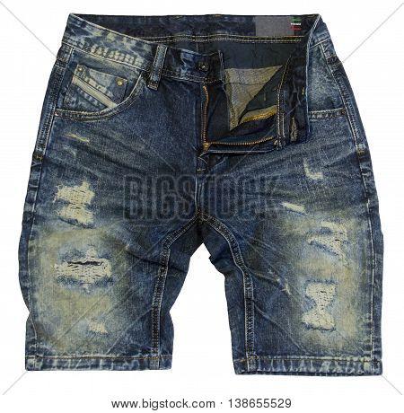 Denim blue shorts isolated on white background
