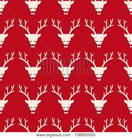 Xmas deer head silhouette seamless pattern. Cute deer with bow background for Christmas holidays.