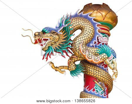 Chinese dragon statue on the pole isolated on white background with clipping path