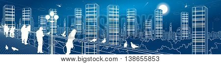 City life amazing panorama. Urban skyline, people watching from the bridge to the night megalopolis, infrastructure illustration, vector design art