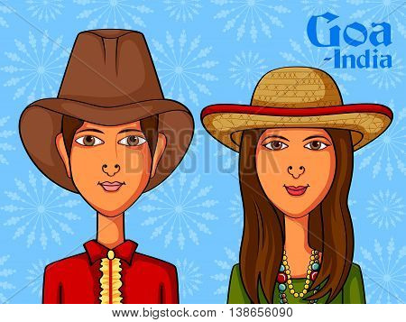 Vector design of Goan Couple in traditional costume of Goa, India