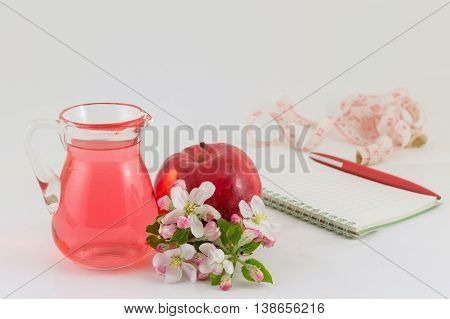 Apple And Apple Vinegar Decorated With Flowers