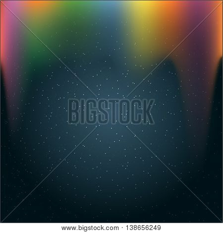 Infinite outer space with glowing stars and colored light. Digital vector image