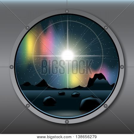 View from rocket or ship porthole on a planet in space over a background with glowing stars. Digital vector image