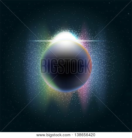 Futuristic planet earth in 3d in space full of stars rising sun with colored light and sparkle. Digital vector image