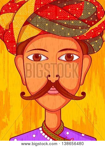 Vector design of Gujarati Man in traditional costume of Gujarat, India